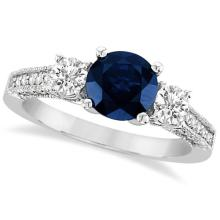 Vintage Milgrain Diamond and Blue Sapphire Ring 14k White Gold (2.32ct) #PAPPS21211