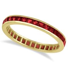 Princess-Cut Garnet Eternity Ring Band 14k Yellow Gold (1.20ct) #PAPPS21253
