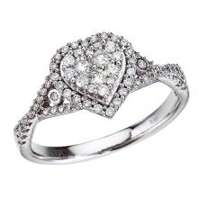 Certified 14K White Gold Diamond Clustaire Ring 0.5 CTW #PAPPS51281