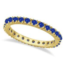 Blue Sapphire Eternity Band Anniversary Ring 14K Yellow Gold (0.50ct) #PAPPS21289