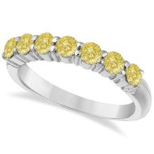 Seven-Stone Fancy Yellow Diamond Ring Band 14k White Gold (1.00ct) #PAPPS21193