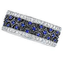 Blue Sapphire and Diamond Eternity Band 14k White Gold (1.23ct) #PAPPS21323