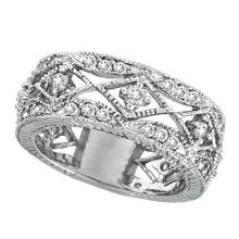 Antique Style Diamond Ring Filigree Band in 14k White Gold (1.00ct) #PAPPS21361