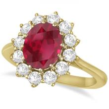 Oval Ruby and Diamond Ring 14k Yellow Gold (3.60ctw) #20935v3