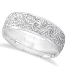 Hand-Engraved Flower Wedding Ring Wide Band 14k White Gold (7mm) #20942v3