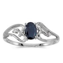 Certified 10k White Gold Oval Sapphire And Diamond Ring 0.4 CTW #50672v3
