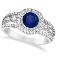 Vintage Blue Sapphire and Diamond Ring 14k White Gold (1.50ct) #20823v3