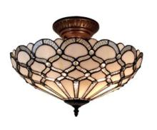 TIFFANY STYLE CEILING FIXTURE LAMP 17 IN WIDE #10168v3