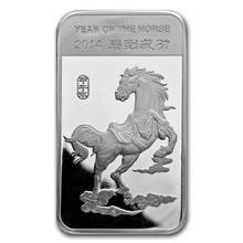 5 oz Silver Bar - (2014 Year of the Horse) #74686v3