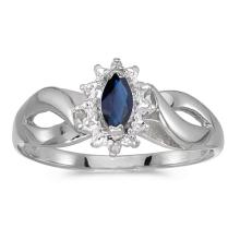 Certified 10k White Gold Marquise Sapphire And Diamond Ring 0.23 CTW #50543v3