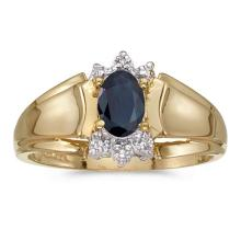 Certified 14k Yellow Gold Oval Sapphire And Diamond Ring 0.4 CTW #50707v3