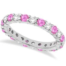 Eternity Diamond and Pink Sapphire Ring Band 14k White Gold (2.35ct) #20832v3