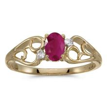 Certified 10k Yellow Gold Oval Ruby And Diamond Ring 0.38 CTW #50556v3