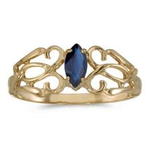 Certified 10k Yellow Gold Marquise Sapphire Filagree Ring 0.21 CTW #50698v3
