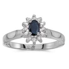 Certified 10k White Gold Oval Sapphire And Diamond Ring 0.33 CTW #50561v3