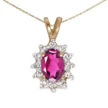 Lot 20161005: Certified 14k Yellow Gold Oval Pink Topaz And Diamond Pendant #PAPPS26136