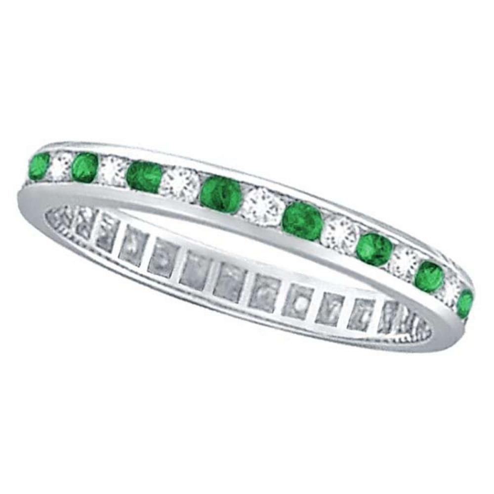 Lot 20161011: Emerald and Diamond Channel Set Eternity Band Ring 14k White Gold (1.04ct) #PAPPS20824