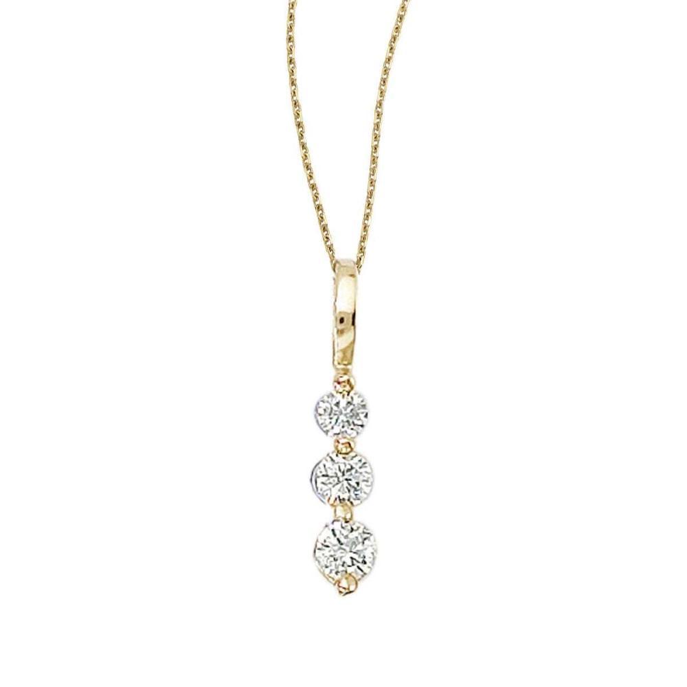 Lot 20161010: Certified 14k Yellow Gold 0.25 Ct Three Stone Diamond Pendant #PAPPS26189