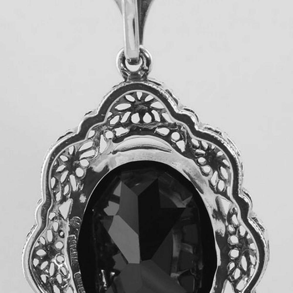 Lot 20161015: Art Deco Style Faceted Onyx Filigree Pendant - Sterling Silver #PAPPS98077