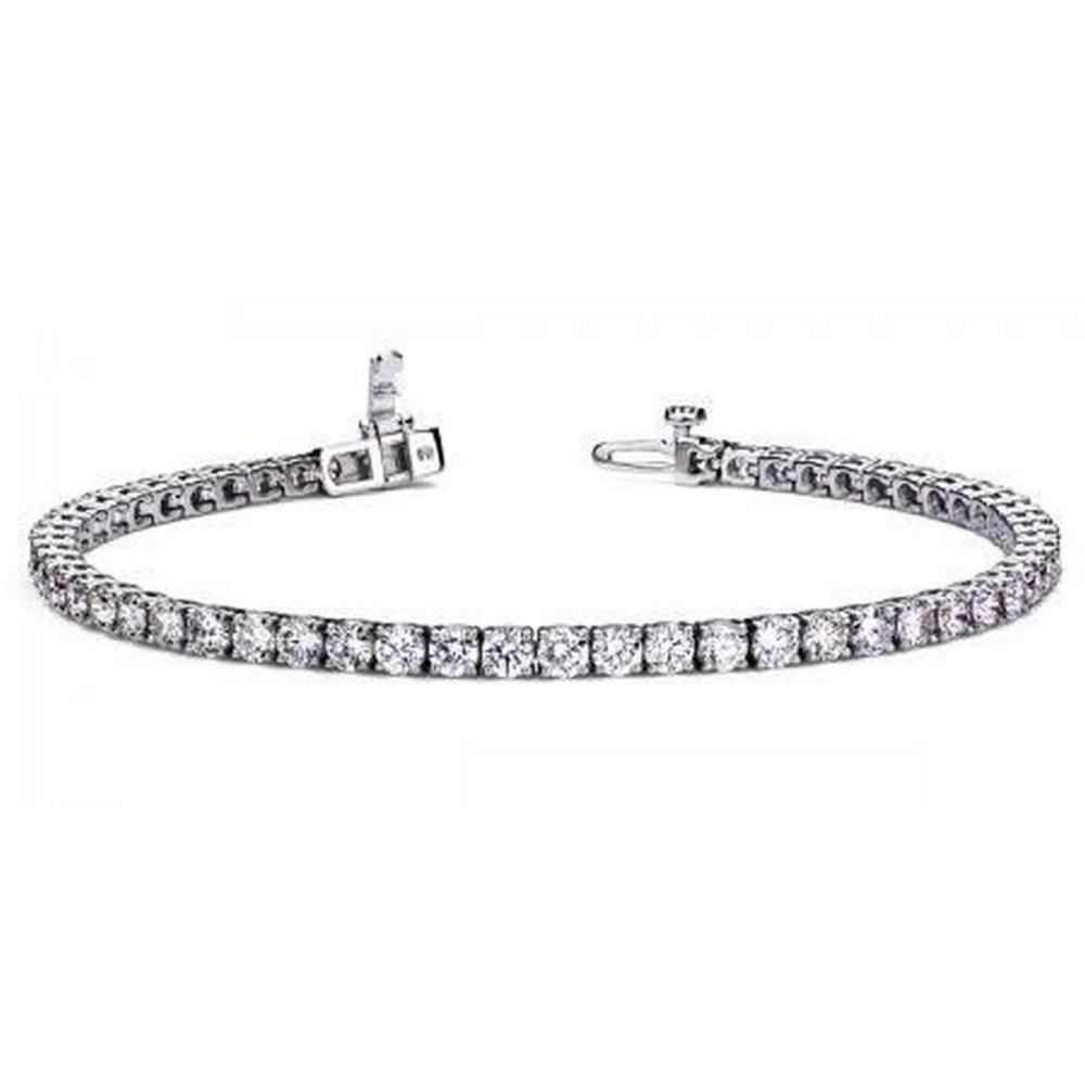 Lot 20161016: CERTIFIED 14K WHITE GOLD 5.00 CTW G-H SI2/I1 TENNIS BRACELET MADE IN USA #PAPPS21441