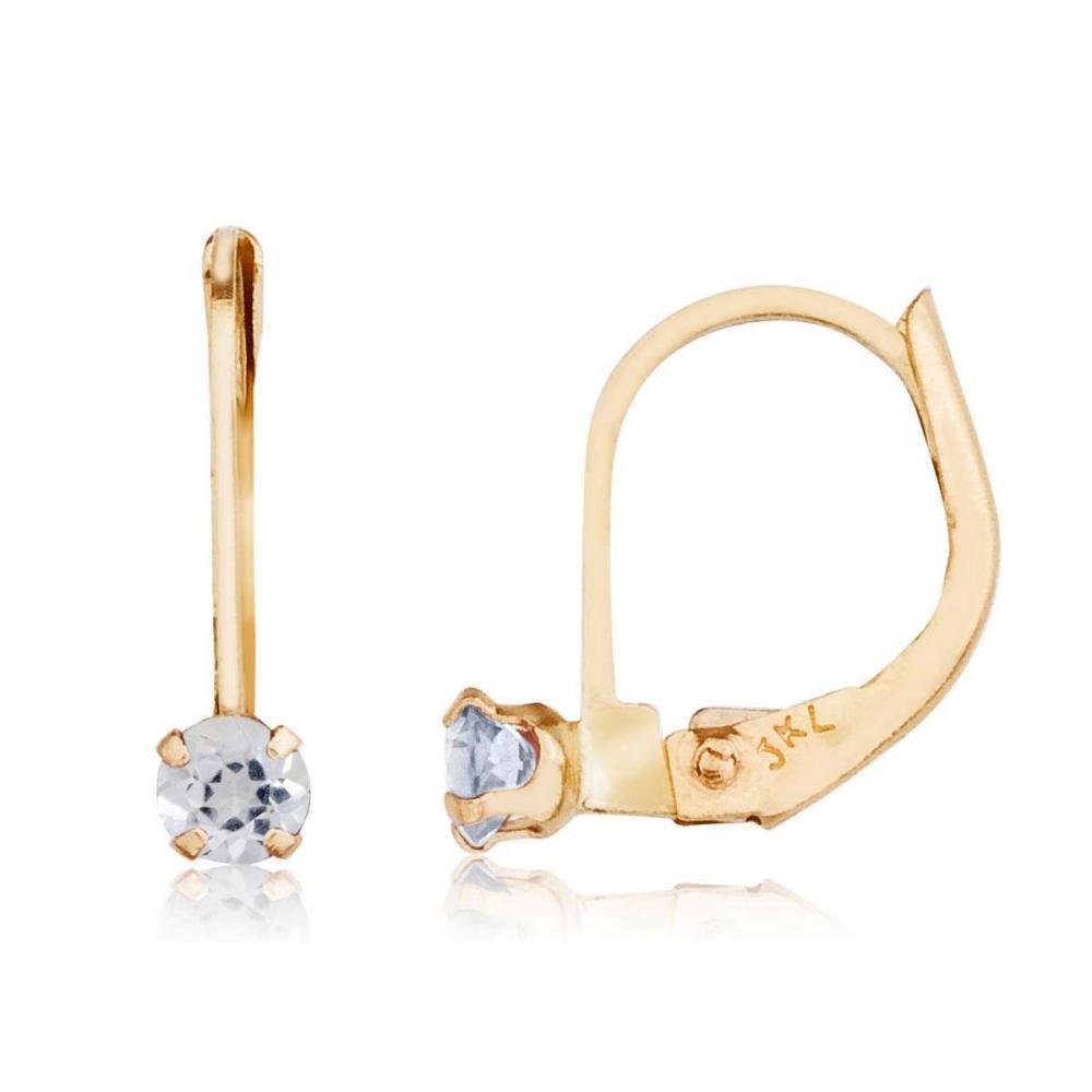 Lot 20161018: Certified 14k Petite White Topaz Leverback Earrings #PAPPS26407
