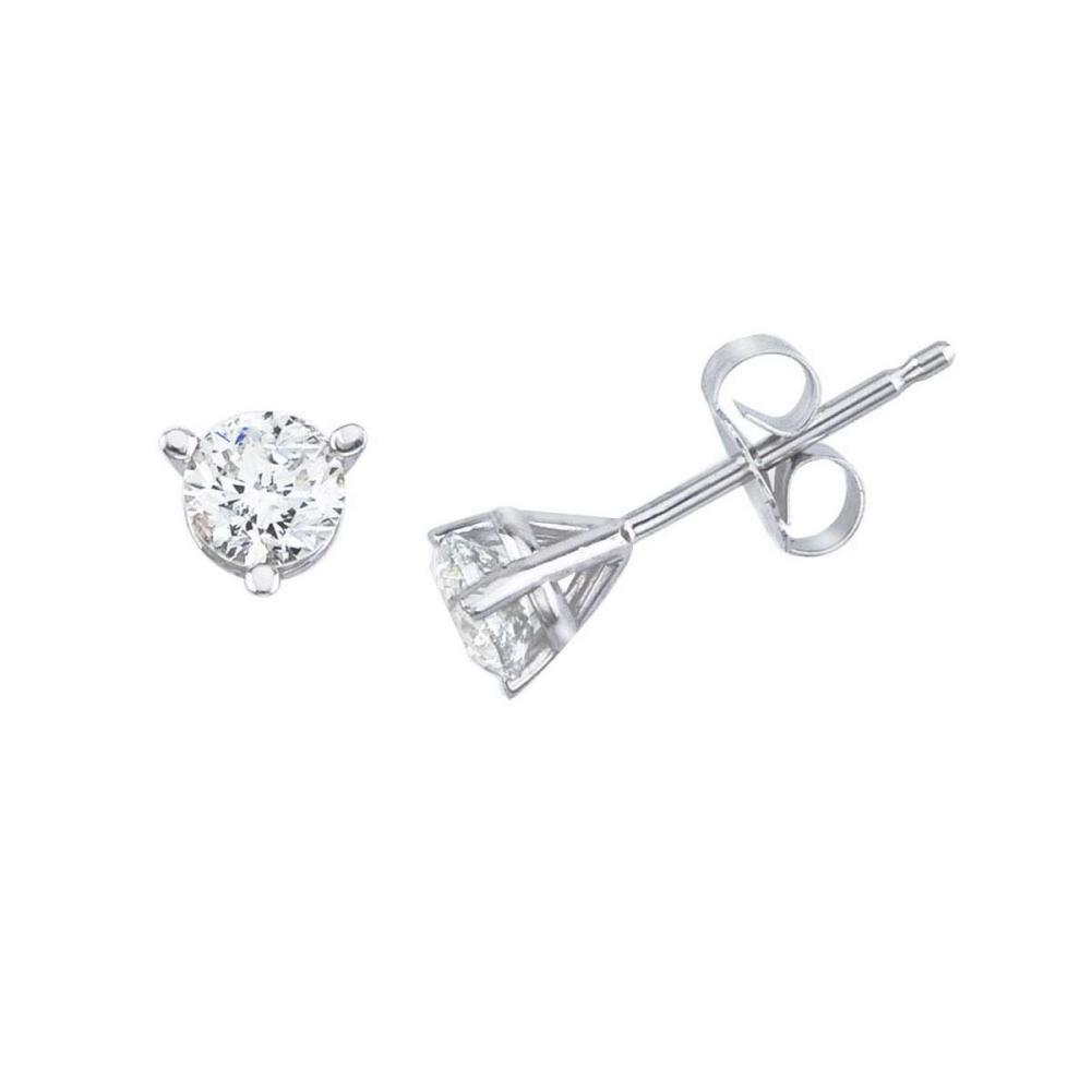 Lot 20161019: Certified 14K White Gold .40 Ct Diamond Martini Setting Stud Earrings #PAPPS26492