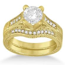 Lot 20161020: Antique Style Engagement Ring Set 18k Yellow Gold 1.10 ctw #PAPPS20845