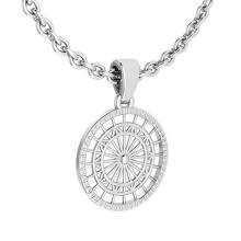 Lot 20161021: Gold Coin Style Charm Necklace 18K White Gold MADE IN ITALY #PAPPS21206