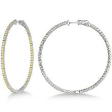 Lot 20161023: X-Large Yellow Canary Diamond Hoop Earrings 14k White Gold (3.00ct) #PAPPS20849