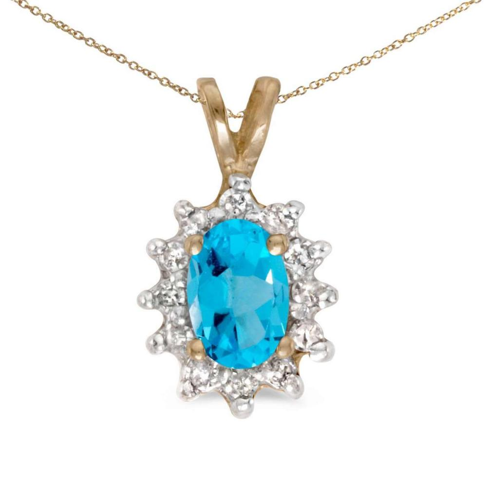 Lot 20161024: Certified 14k Yellow Gold Oval Blue Topaz And Diamond Pendant #PAPPS26132