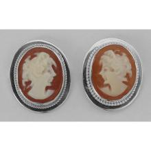 Lot 20161026: Hand Carved Italian Oval Cameo Post Earrings - Sterling Silver #PAPPS97714