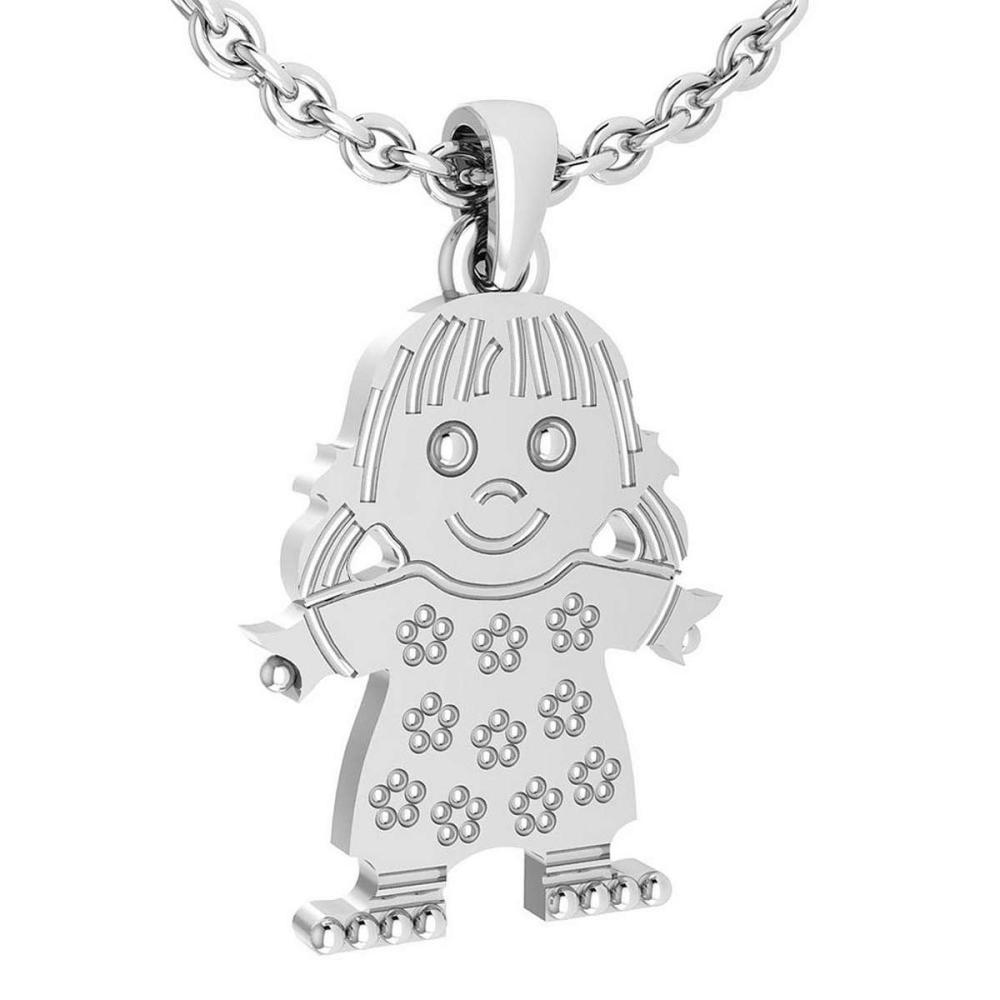 Lot 20161027: Little Baby Girl Gold MADE IN USA Charm Necklace 14K White Gold MADE IN ITALY #PAPPS20240