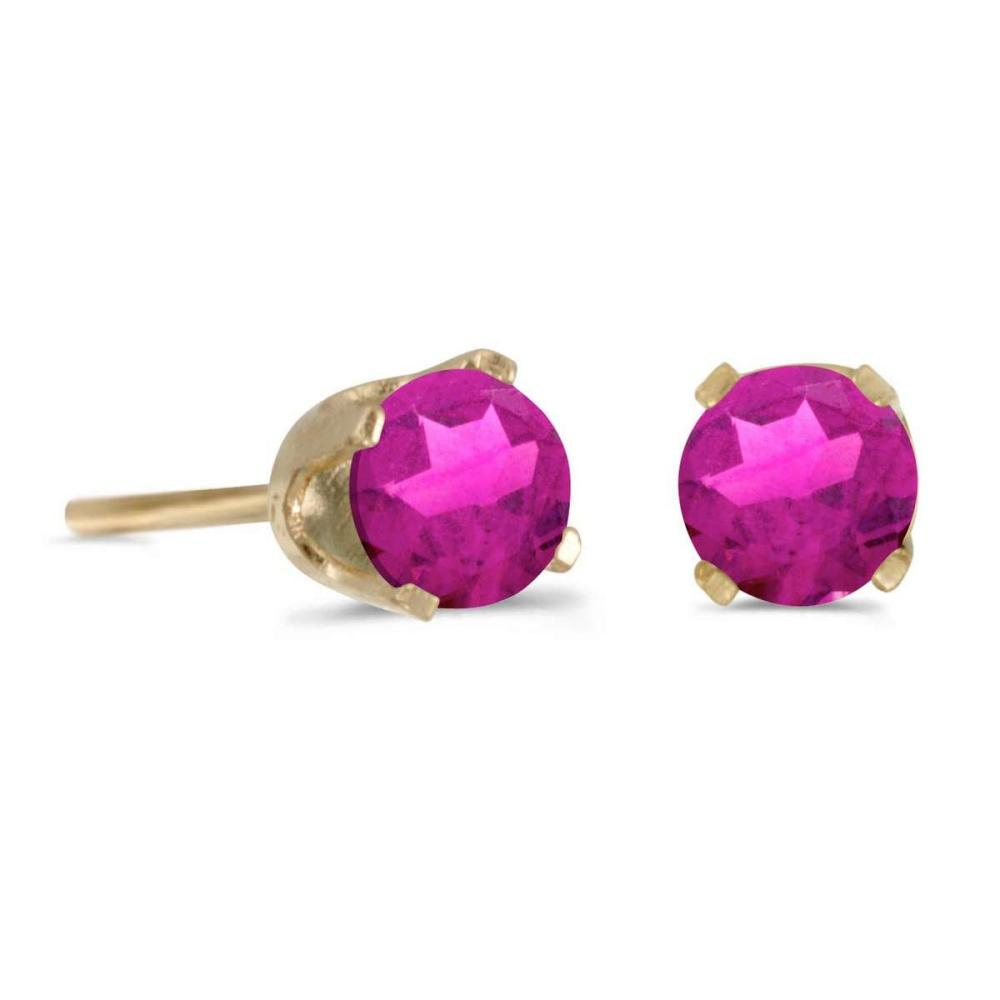 Lot 20161028: Certified 4 mm Round Pink Topaz Stud Earrings in 14k Yellow Gold 0.6 CTW #PAPPS25844