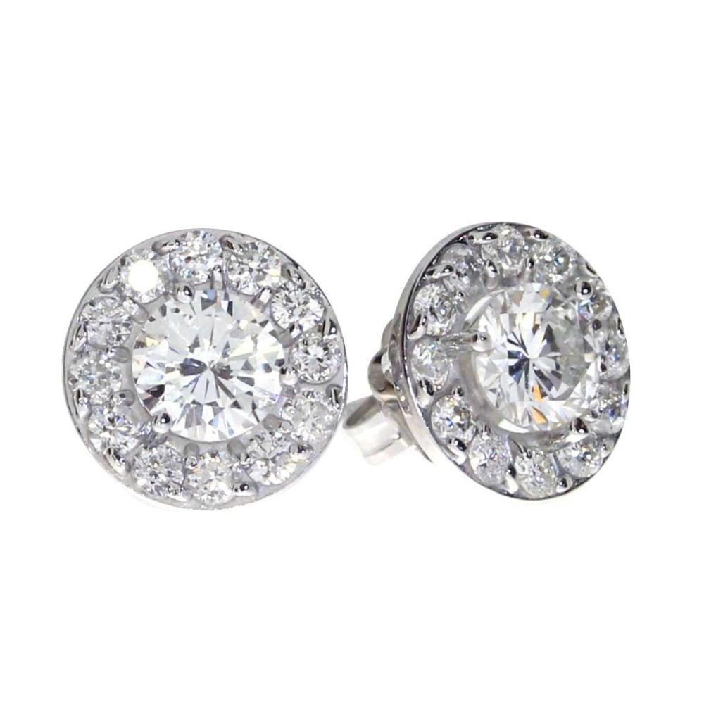Lot 20161030: Certified 14K White Gold 1.02 ct Diamond Halo Stud Earrings #PAPPS26551