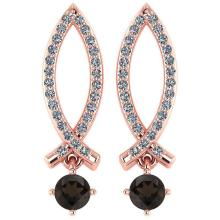 Lot 20161032: Certified .72 Ctw Genuine Smoky Quartz And Diamond 14k Rose Gold Earrings #PAPPS94545