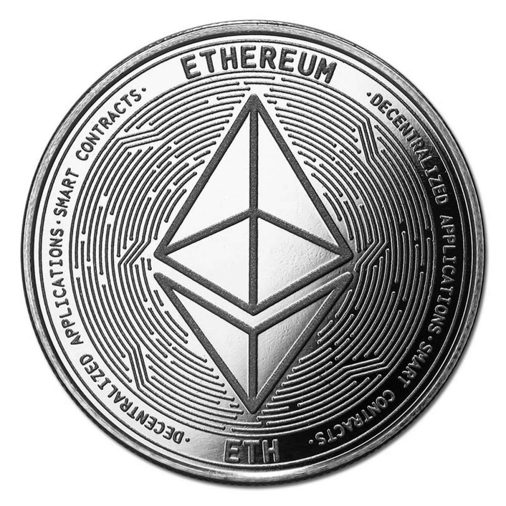 Lot 20161033: 1 oz Silver Bullion Cryptocurrency Ethereum Round .999 fine #PAPPS81320