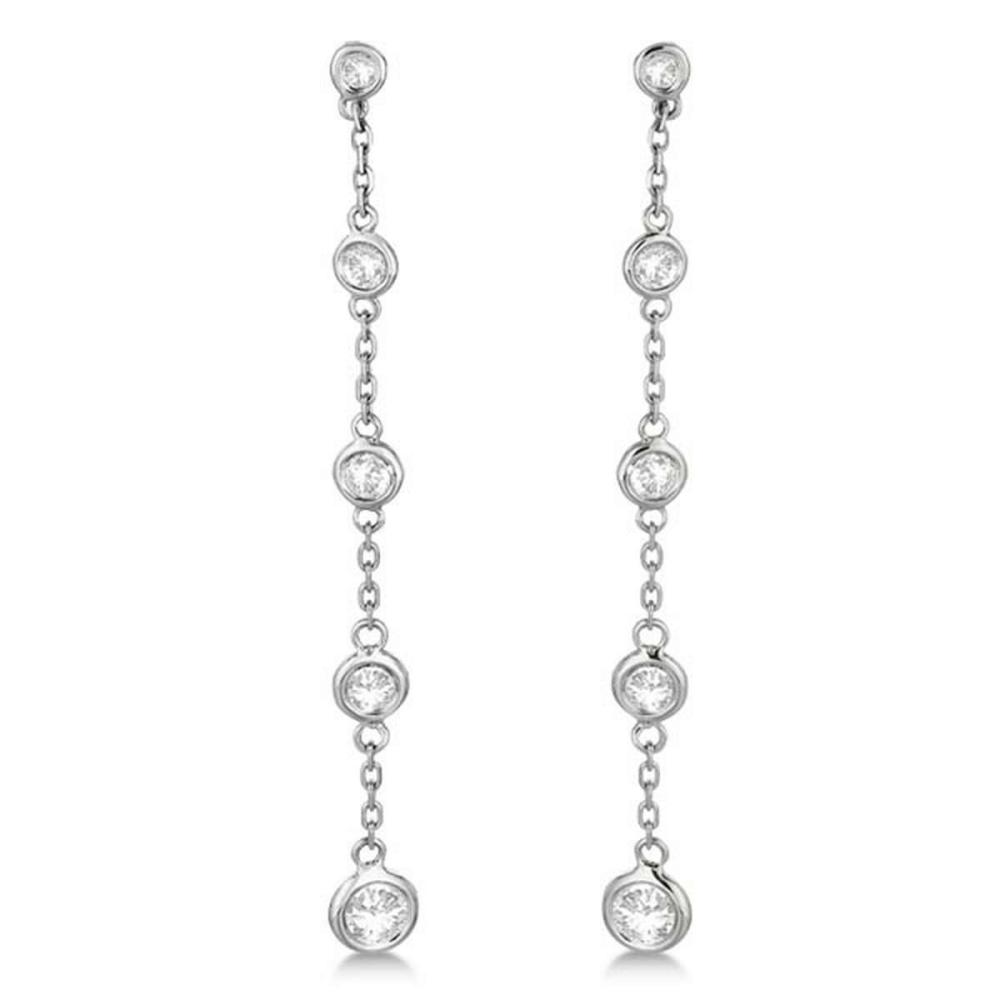 Bezel-Set Diamonds By The Yard Drop Earrings 14k White Gold (1.00ct) #PAPPS21231