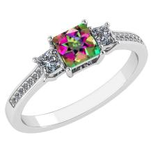 Lot 20161040: Certified 1.18 CTW Genuine Mystic Topaz And Diamond 14K White Gold Ring #PAPPS92398