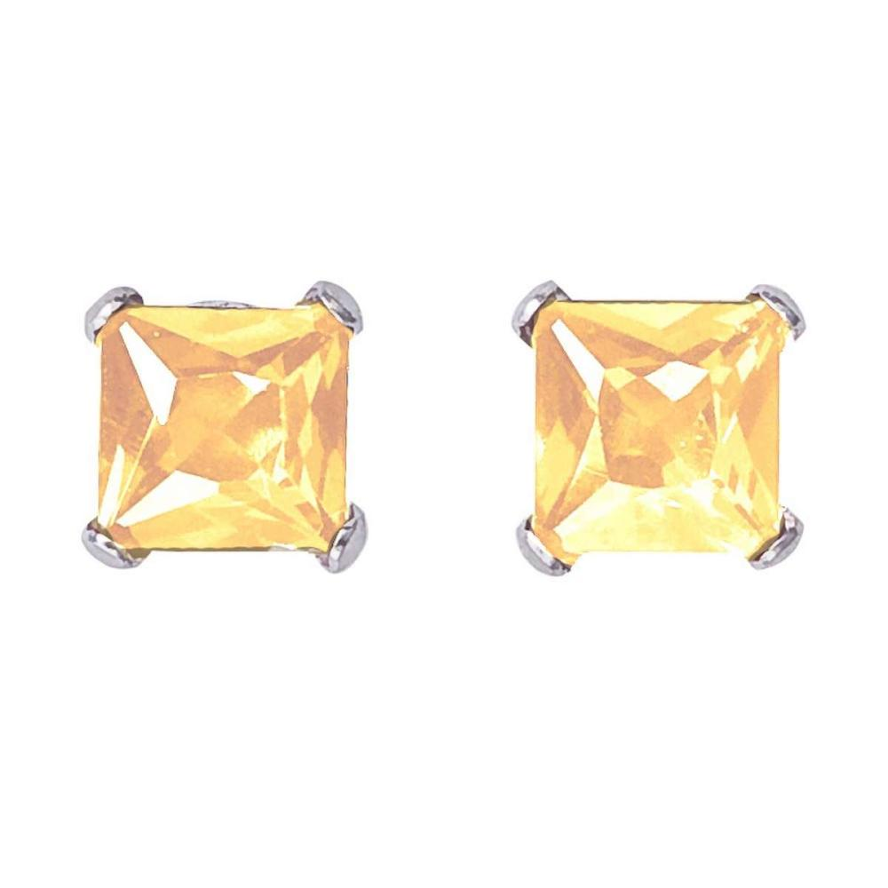 Lot 20161043: Certified 14k White Gold Square Citrine Stud Earrings #PAPPS26522