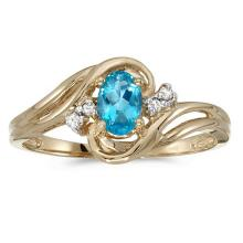 Lot 20161047: Certified 14k Yellow Gold Oval Blue Topaz And Diamond Ring #PAPPS51019