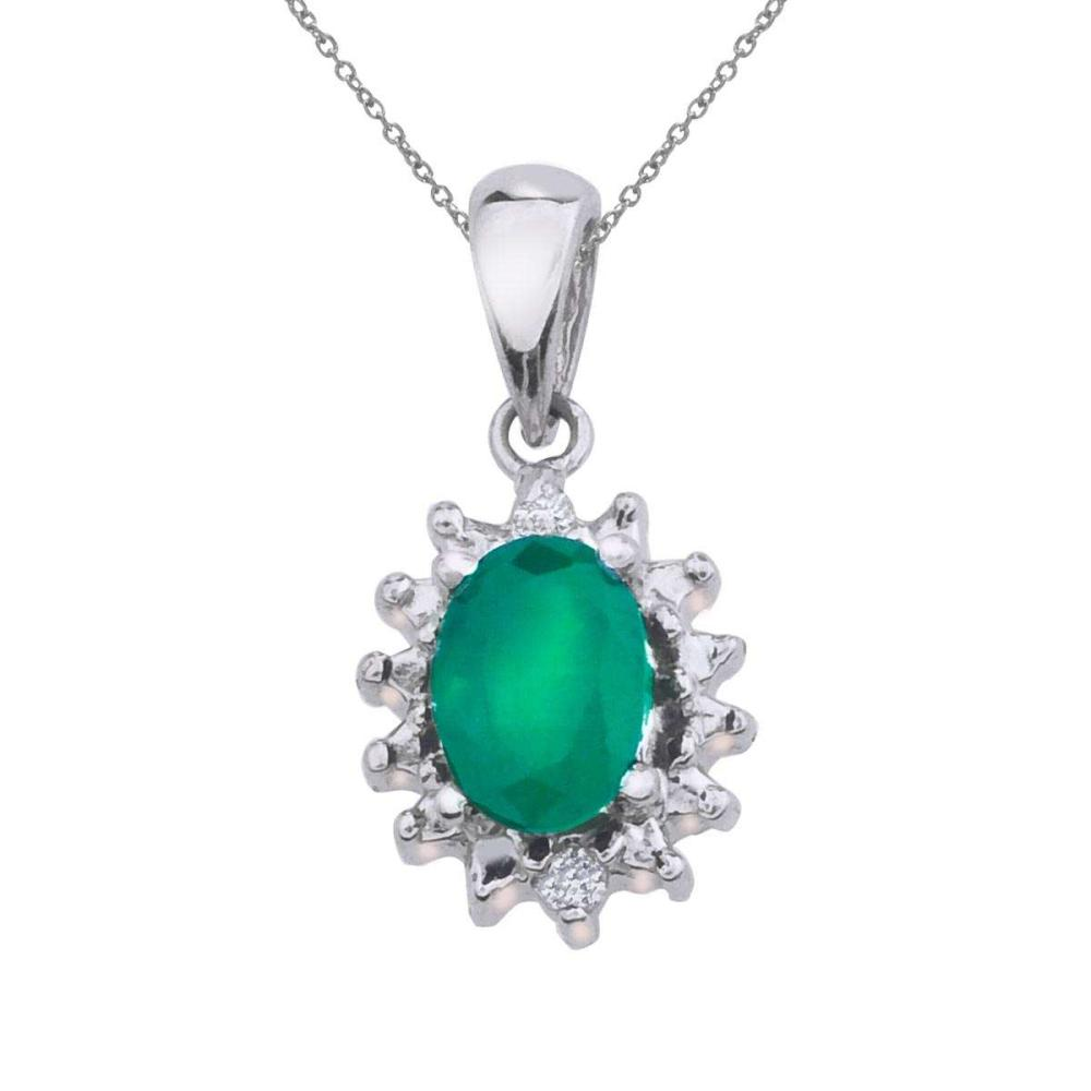 Lot 20161049: Certified 10k White Gold Emerald and Diamond Pendant #PAPPS26450