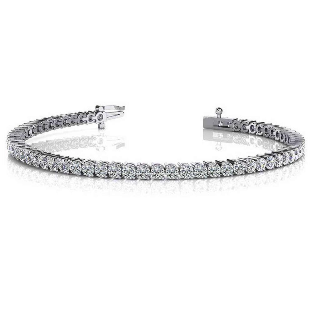 Lot 20161052: CERTIFIED 14K WHITE GOLD 1.50 CTW G-H SI2/I1 2 PRONG SET ROUND DIAMOND TENNIS BRACELET MADE IN USA #PAPPS21449