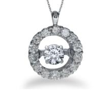 Lot 20161053: Certified 14K White Gold Dashing Diamonds Heartbeat Pendant #PAPPS26553