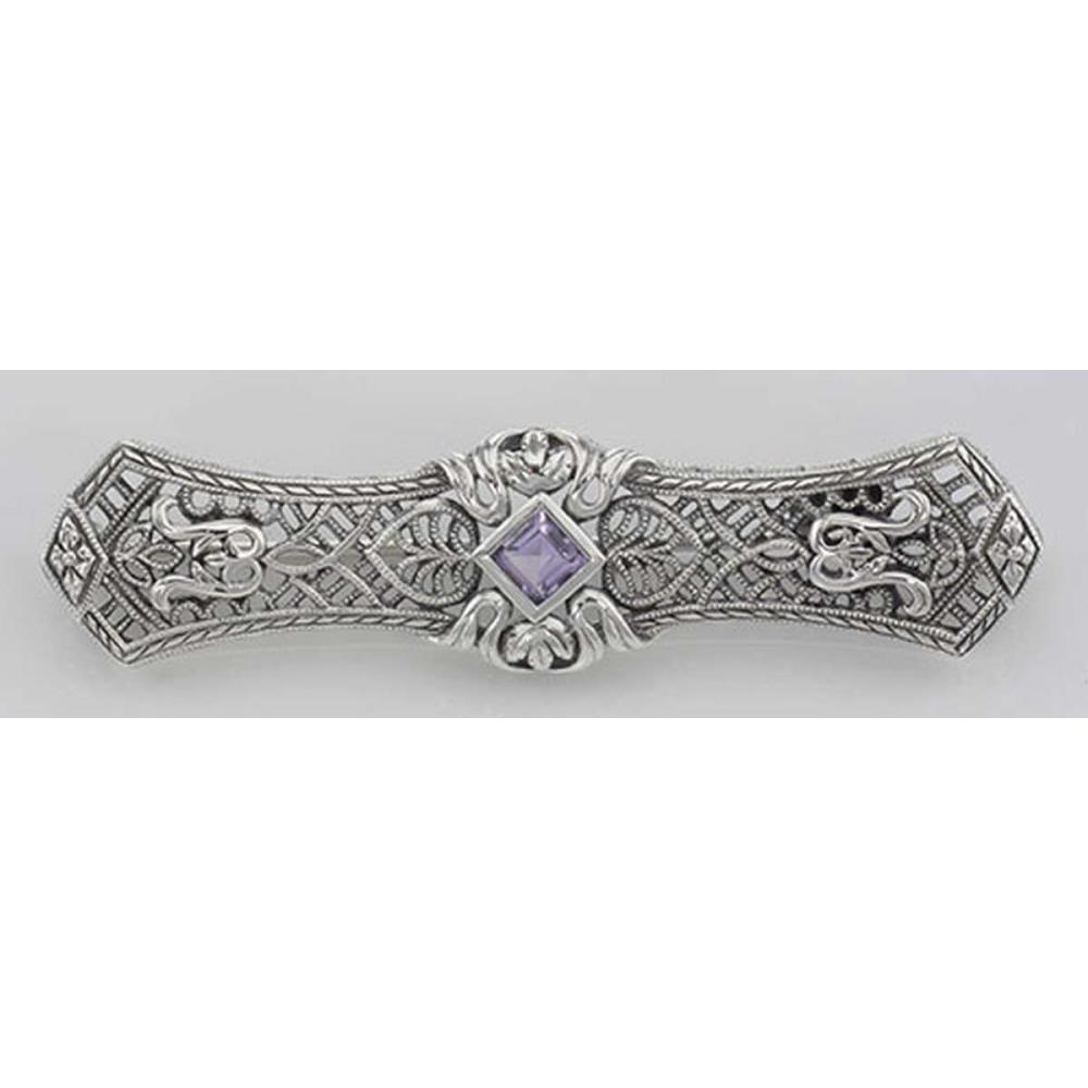 Lot 20161056: Art Deco Style Amethyst Filigree Bar Pin / Brooch - Sterling Silver #PAPPS98084