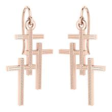 Lot 20161057: Holy Cross Wire Hook Earrings 18k Rose Gold MADE IN ITALY #PAPPS21244