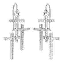 Lot 20161060: Holy Cross Wire Hook Earrings 18k White Gold MADE IN ITALY #PAPPS21245