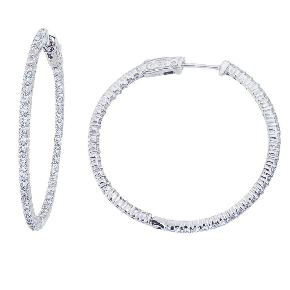 Lot 20161062: Certified 14K White Gold 2 Ct Diamond 35mm Round Secure Lock Hoop Earrings #PAPPS26545