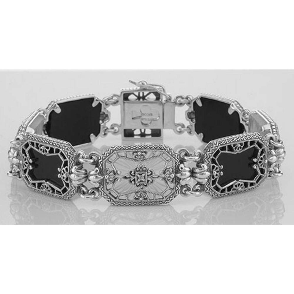 Victorian Style Filigree Bracelet Onyx Camphor Glass / Diamond Sterling #PAPPS98044