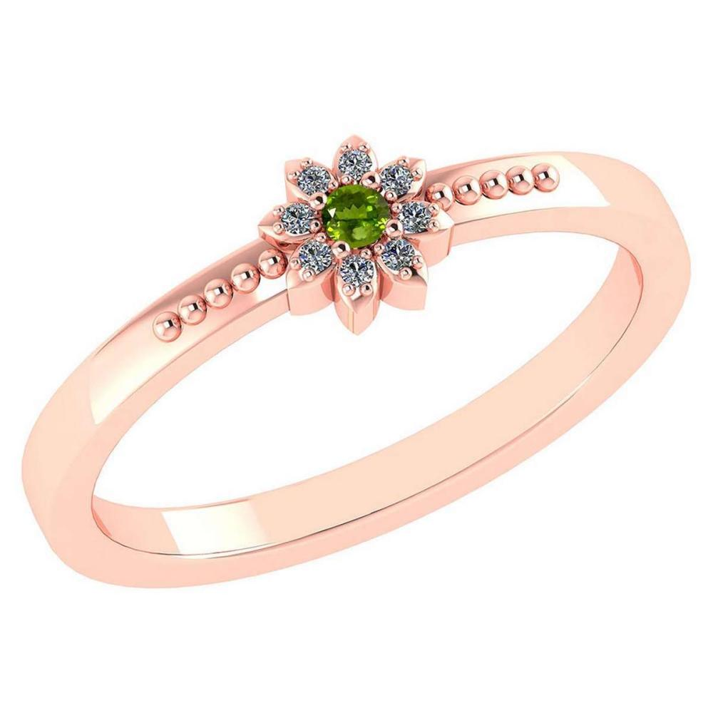 Lot 20161065: Certified .07 Ctw Genuine Peridot And Diamond 14k Rose Gold Halo Ring #PAPPS94445