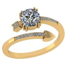Lot 20161071: Certified .70 CTW Round Diamond 14K Yellow Gold Ring #PAPPS92271